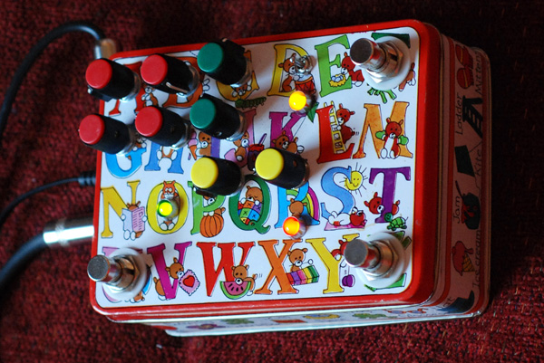 Crazy Alphabet Cookie Tin Homemade Guitar Pedal: Fuzz, Wah, Echo, Chorus in one!
